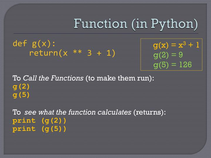 Function (in Python)