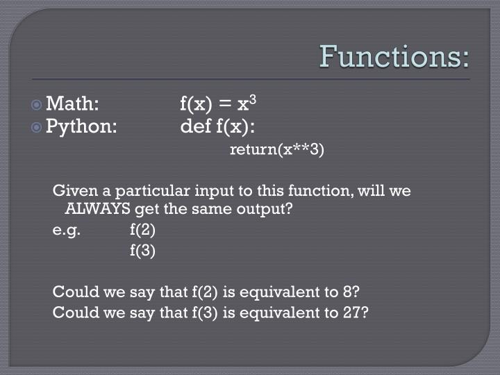 Functions: