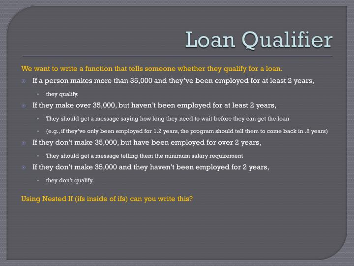 Loan Qualifier