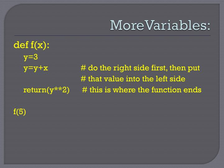 MoreVariables
