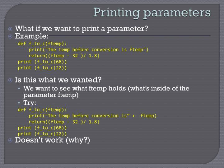 Printing parameters