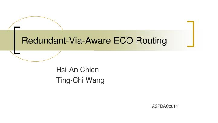 Redundant via aware eco routing