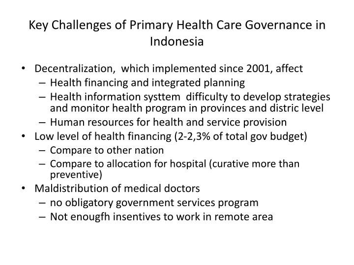 Key Challenges of Primary Health Care Governance in Indonesia