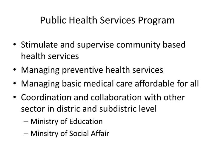 Public Health Services Program