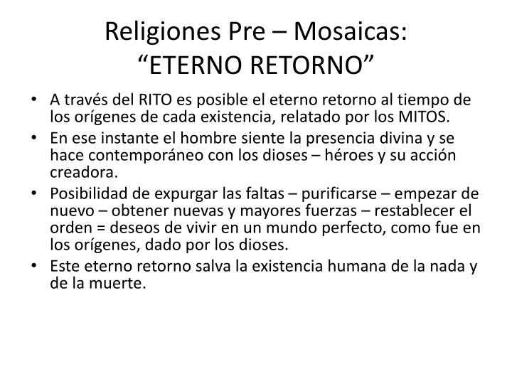 Religiones Pre – Mosaicas: