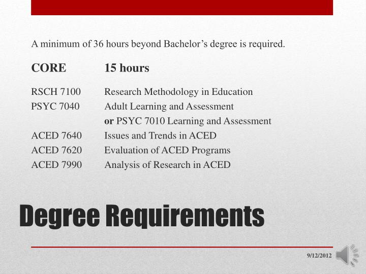 A minimum of 36 hours beyond Bachelor's degree is required.