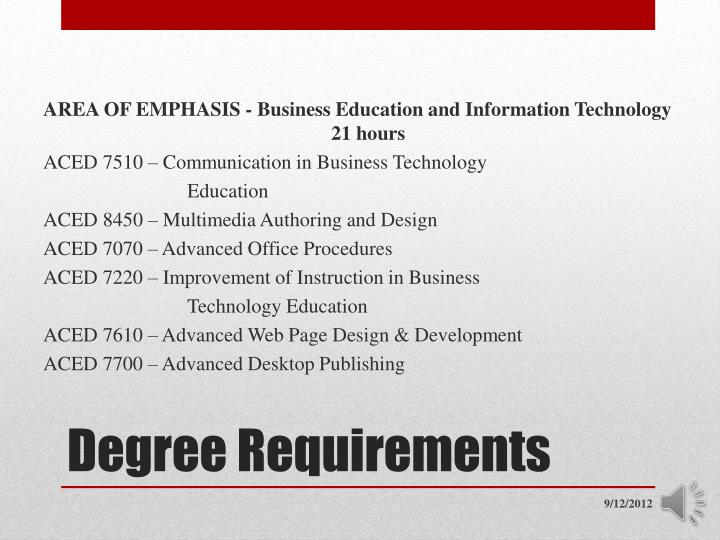 AREA OF EMPHASIS - Business Education and Information Technology
