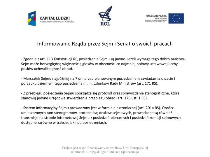Informowanie Rządu przez Sejm i Senat o swoich pracach