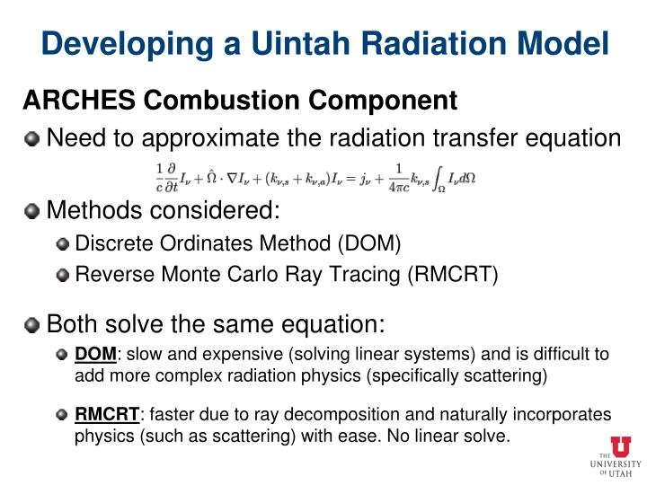Developing a Uintah Radiation Model