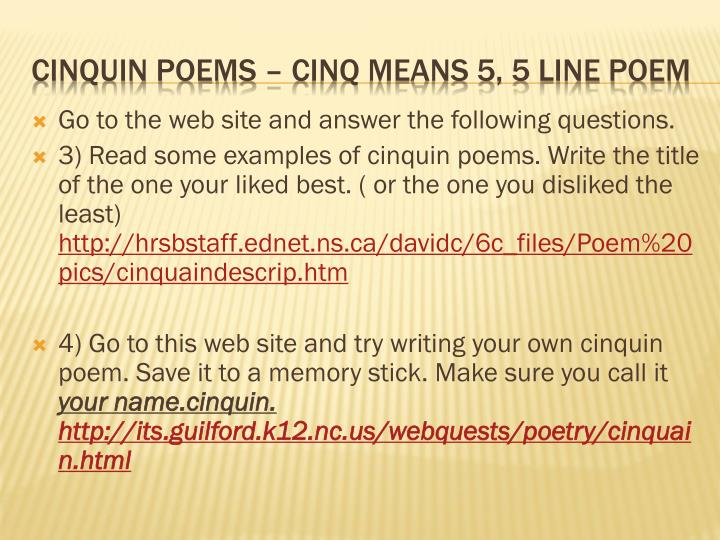 Go to the web site and answer the following questions.