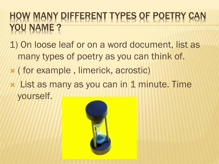 How many different types of poetry can you name