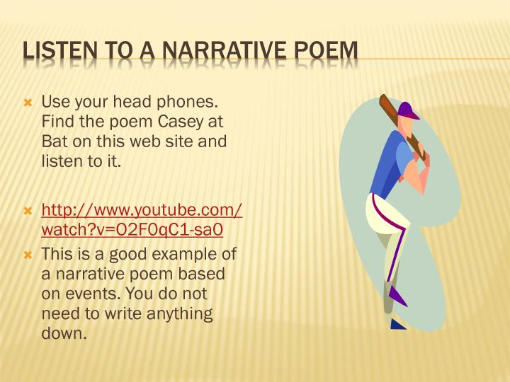 Listen to a narrative poem