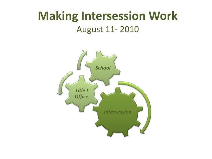 Making intersession work august 11 2010