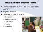 how is student progress shared