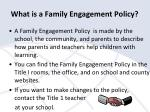 what is a family engagement policy