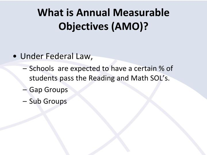 What is Annual Measurable Objectives (AMO)?