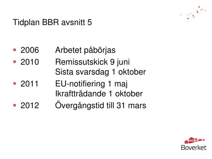 Tidplan BBR avsnitt 5