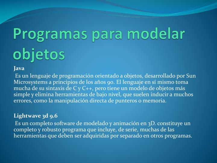 Programas para modelar objetos