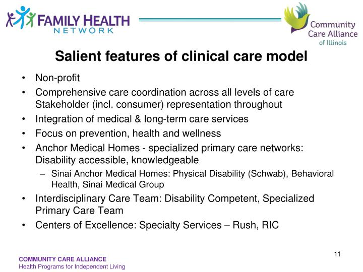 Salient features of clinical care model