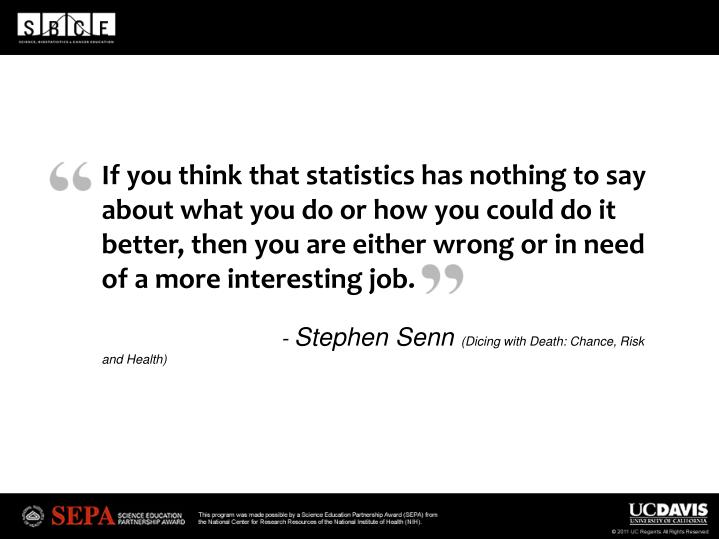 If you think that statistics has nothing to say about what you do or how you could do it better, the...