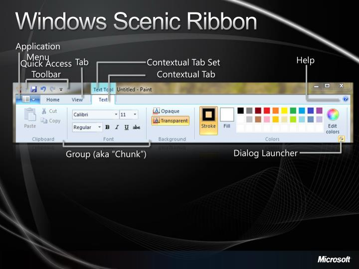 Windows Scenic Ribbon