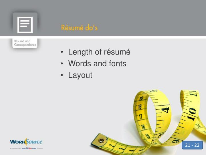 Length of résumé