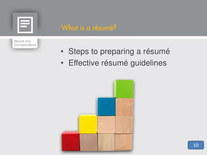 Steps to preparing a résumé