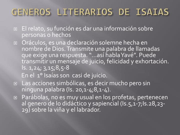 GENEROS LITERARIOS DE ISAIAS