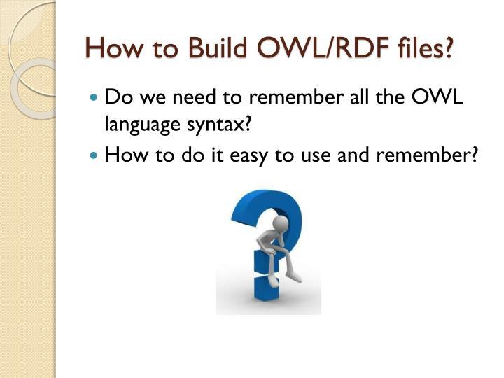 How to Build OWL/RDF files?