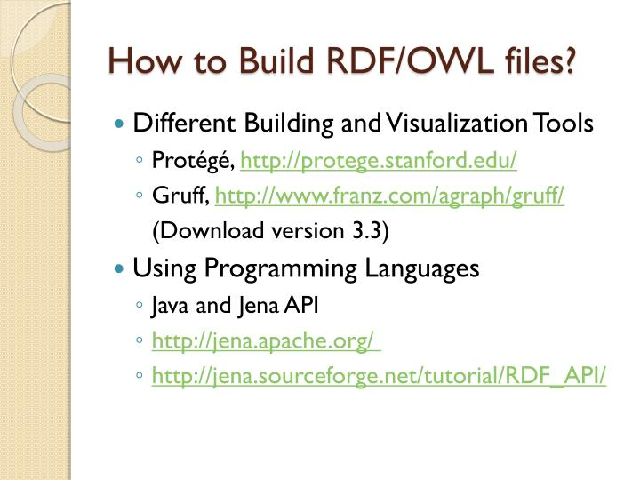 How to Build RDF/OWL files?