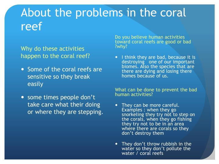 About the problems in the coral reef