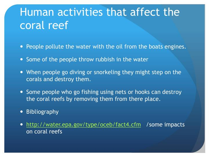 Human activities that affect the coral reef
