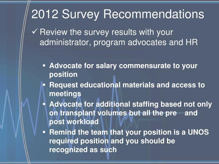 2012 Survey Recommendations
