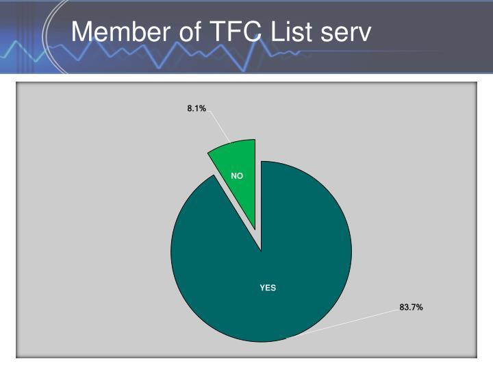 Member of TFC List serv