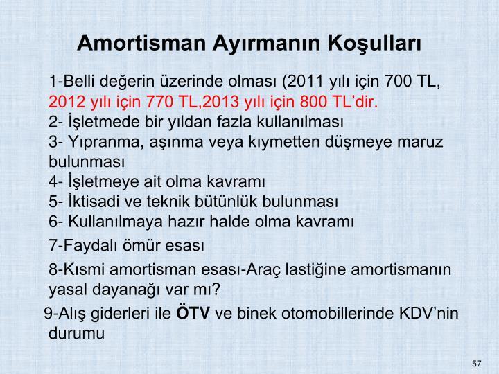 Amortisman Ayrmann Koullar