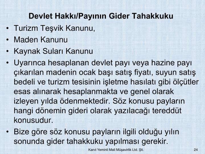 Devlet Hakk/Paynn Gider Tahakkuku