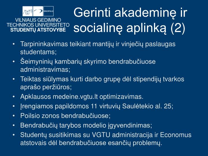 Gerinti akademinę ir socialinę