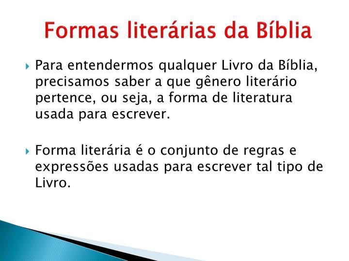 Formas literárias da Bíblia
