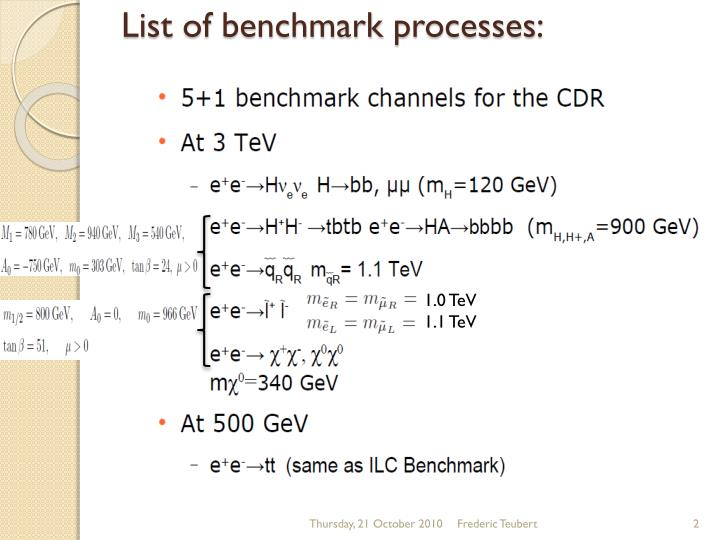 List of benchmark processes