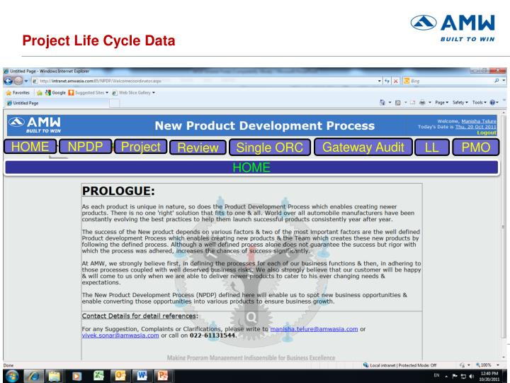 Project Life Cycle Data