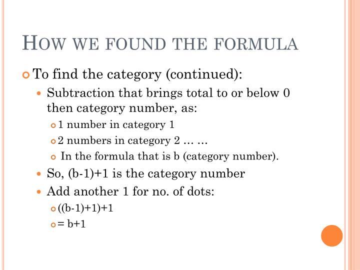 How we found the formula