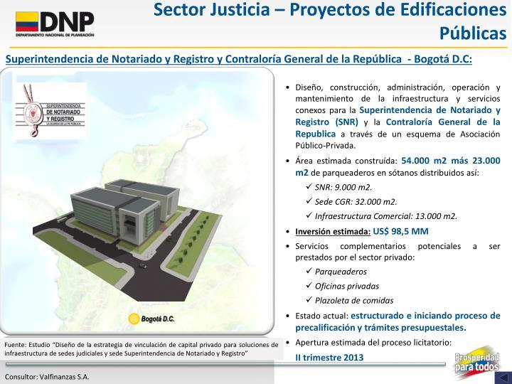 Sector Justicia – Proyectos de Edificaciones Públicas