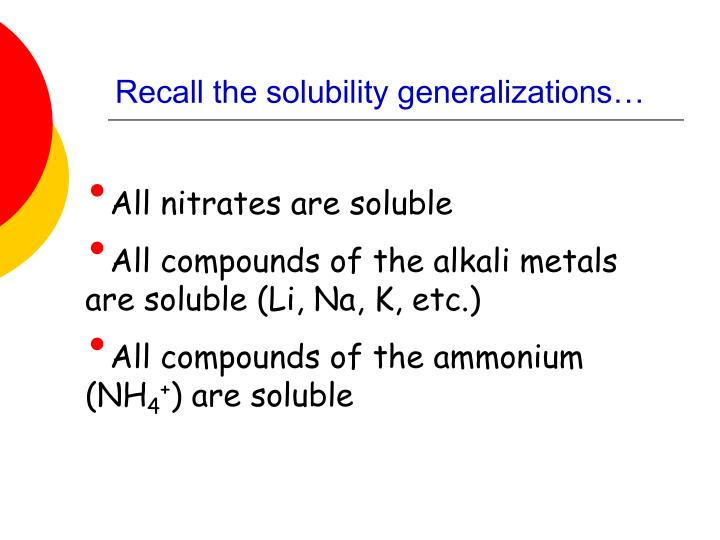 Recall the solubility generalizations…