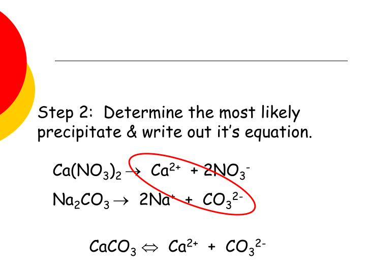 Step 2:  Determine the most likely precipitate & write out it's equation.