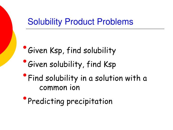 Solubility Product Problems