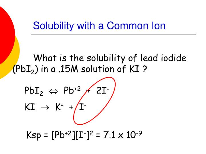 Solubility with a Common Ion