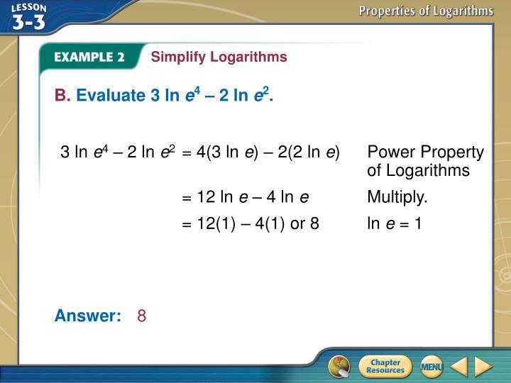 Simplify Logarithms