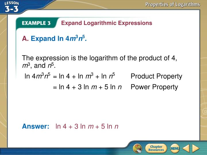 Expand Logarithmic Expressions