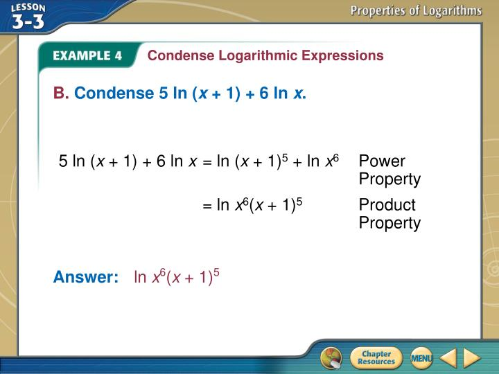 Condense Logarithmic Expressions