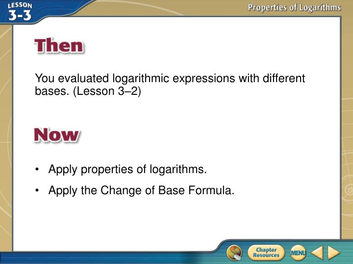 You evaluated logarithmic expressions with different bases. (Lesson 3–2)